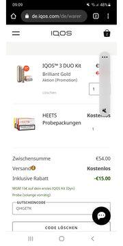 Gutscheincode iqos 15 Euro QHGETK