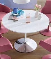 NEU Ess-Tisch weiß Hochglanz-Chrom rund