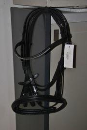Nagelneuer schwarzer Trensenzaum mit Strassstirnband