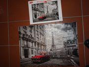 Puzzle Eiffelturm mit roter Limousine