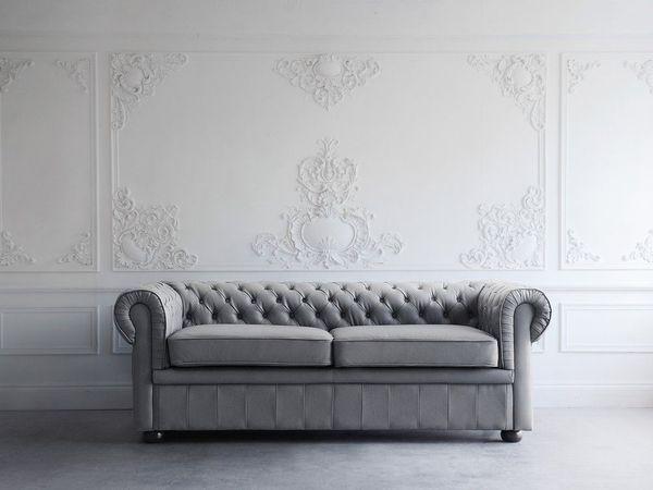 Sofa Leder grau CHESTERFIELD neu -