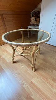 Rattan-Glas-Tischchen - rund