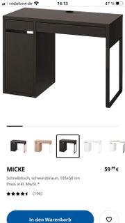 Schreibtisch Micke in schwarzbraun