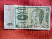 BANKNOTE 5 DM Mark 1980