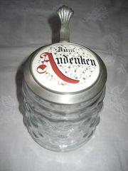 Bierkrug Glaskrug ZUM ANDENKEN Zinnedeckel