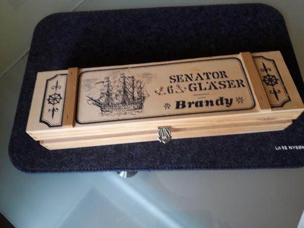 6x Senator Brandy Gläser in der Holzschachtel