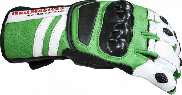 Motorradhandschuhe Rindsleder grün weiß scharz