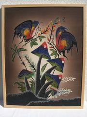 Große BATIK-Bild - Motiv Pilze - aus