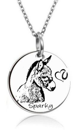 Pferde - PersonalisierteTier-Kette Anhänger Edelstahl Zwergesel Esel