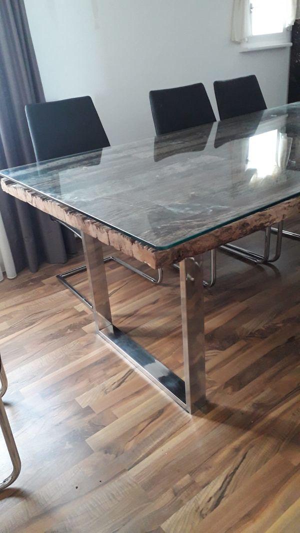 Verkaufe Holztisch mit Glasplatte