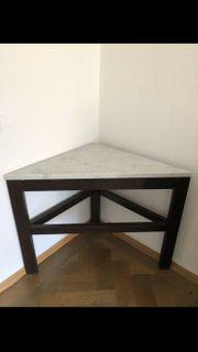 schöner Ecktisch Tisch Holz Marmorplatte