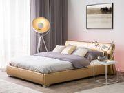 Lederbett gold Lattenrost 140 x