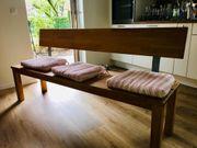 Holzbank Sitzbank mit Sitzkissen