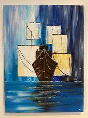 Gemälde Acrylbild Abstrakte See Abstrakt