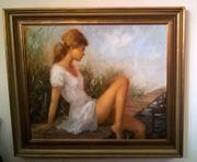 Gemälde Mädchen am Steg