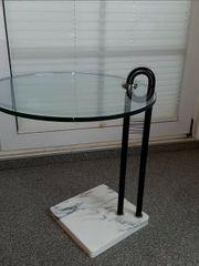 Beistelltisch Glasplatte Marmorsockel Metallstütze