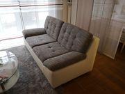 Couch 2-Sitzer Weiß Stoff Leder