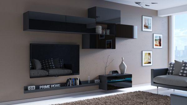 Möbel Wohnzimmer Wohnwand Anbauwand Schrankwand