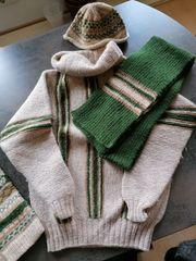 Set Pullover Mütze Schal und