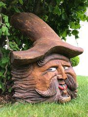 Holzfigur Holzkopf handgeschnitzt alt