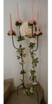 Kerzenständer Metall mit Rosendeko und