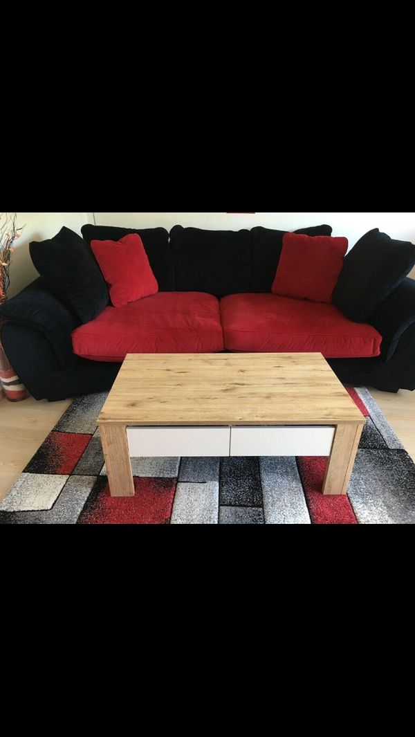 Big Sofa Velour Schwarz Rot In Ansbach Polster Sessel Couch