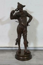 Harlekin Marionette Bronze Figur sign