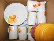 Geschirr Service Weiß mit Blume