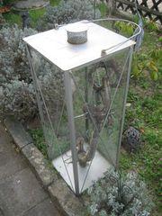 riesengroßes Windlicht Laterne Metall Glas