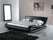 Lederbett schwarz Lattenrost 180 x