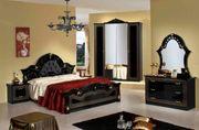 Italienisches Schlafzimmer Komplett Set Schwarz-Gold