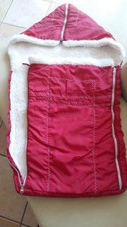 Baby Winter Fußsack rot weiß