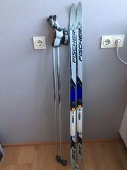 Kinder- bzw Jugend-Skating-Ski samt Skating-Stöcken