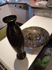Schale und Vase schwarz gold