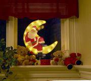 LED Fensterbild Weihnachtsmann im Mond
