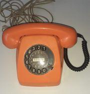 Telefon orange alt Wählscheibe
