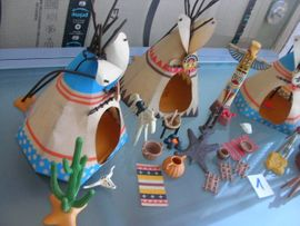 Spielzeug: Lego, Playmobil - Playmobil Indianerlager Zelte Tipis Zubehör
