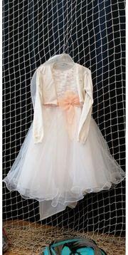 Festliches Mädchen Kleid Weiß aprikot