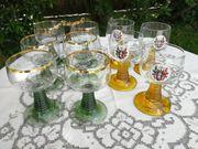 6 Römer Weingläser mit Goldrand