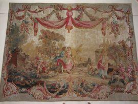 Alter großer französischer Gobelin Wandteppich
