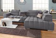 XL Sofa Ecksofa Schlaffunktion Grau