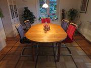 Massiver Holztisch mit 2 Einlegeplatten