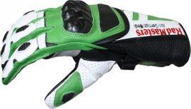 Motorradbekleidung Herren - Motorradhandschuhe Rindsleder grün weiß scharz