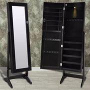 Schwarzer Spiegelschrank mit Schmuckständer mit