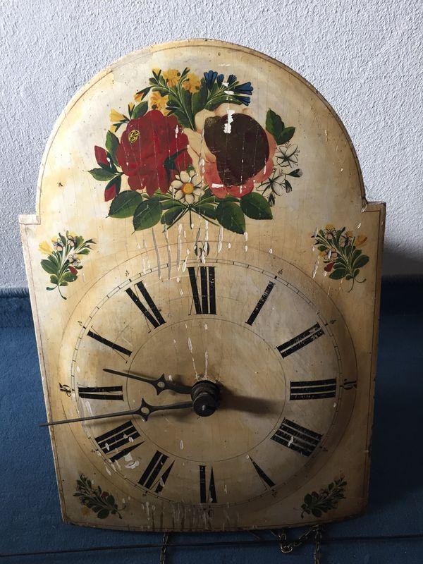 Rosenblatt Uhr Holzuhr um 1850