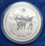 Silbermünze Lunar 2 Ochse 1