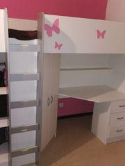 Hochbett mit Schrank und Schreibtisch -