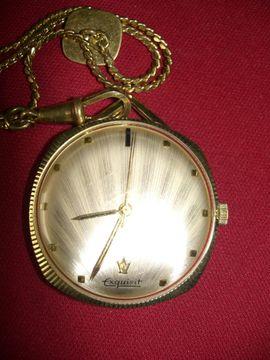 Uhren - ältere Taschenuhr mit Kette - Handaufzug