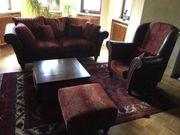 2er-Sofa Sessel Hocker und Tisch
