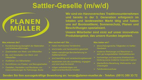 Jobangebot Sattler-Gesellen m w d -